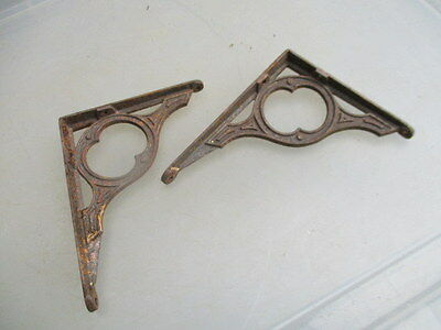 Small Antique Iron Brackets Shelf Holder Architectural Vintage Pair Shelve Old
