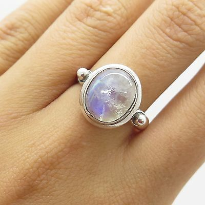 925 Sterling Silver Natural Moonstone Gemstone Ring Size 7 1/4