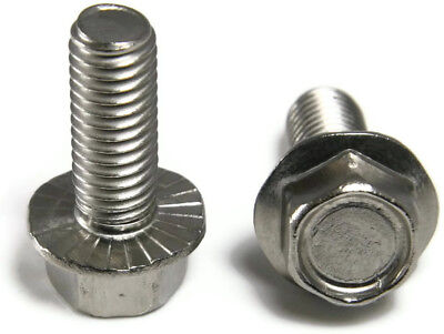 """Stainless Steel Hex Cap Serrated Flange Bolt FT UNC #10-24 x 3/8"""", Qty 25"""