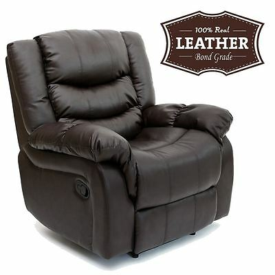 Seattle Brown Leather Recliner Armchair Sofa Home Lounge Chair Reclining