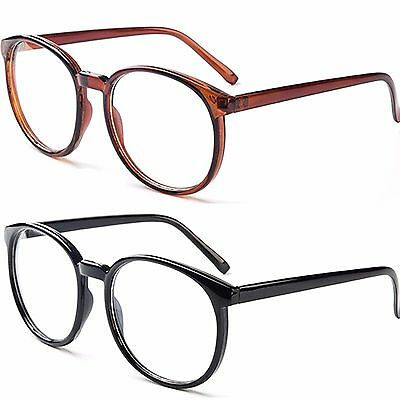 Clear lens Large Oval Plastic Frame Glasses