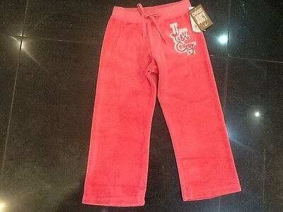 NWT Juicy Couture New & Gen. Girls Age 4 Pink Velour Tracksuit Pants With Logo