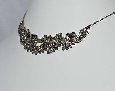 Vintage Jewellery Original Art Deco Rhodium & Marcasite Articulating Necklace