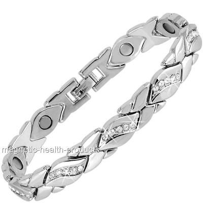 Ladies Magnetic Healing Bracelet Silver Kisses Bangle - Arthritis Pain Relief