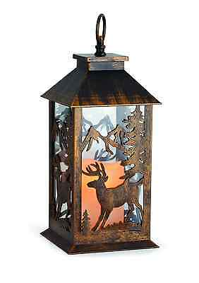 14 Inch Reindeer Cutout LED Light-Up Candle Metal Lantern Christmas Decoration