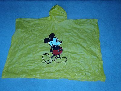 Vintage Disney Parks Mickey Mouse Child Size Hooded Yellow Poncho Raincoat