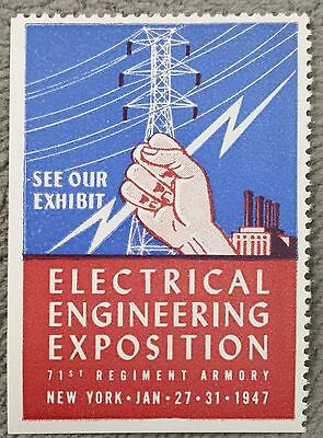 New York Electrical Engineering Exposition 1947 Poster/Cinderella Label MNH