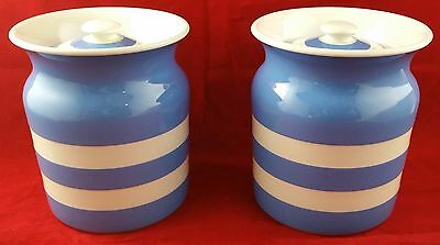 Pair of Vintage T G Green Cornishware Blue & White Pottery Storage Canister/Jars