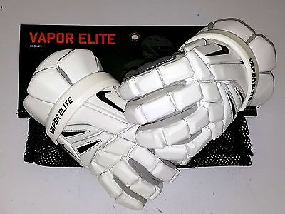 "White Medium 12"" Nike Vapor Elite Lacrosse Gloves Geve4F (037)"