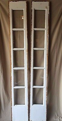 Pair Antique Sidelight Vintage Old Window Entrance Door 1789-16