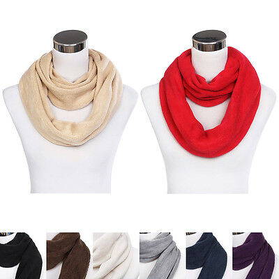 Premium Fine Knit Solid Color Winter Infinity Loop Circle Scarf -Diff Colors