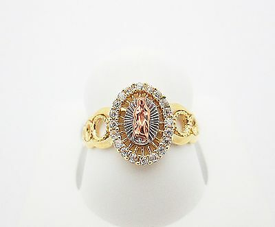 Women's Ladies 10k Tri Color Gold Guadalupe Ring Virgin Mary Ring