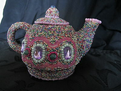 unique teapot, ceramic teapot covered with seed beads. one of a kind