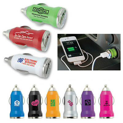 COMPACT USB CAR CHARGERS - 100 quantity - Custom Printed with Your Logo