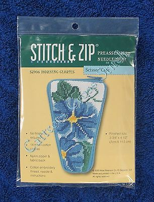 Stitch & Zip Needlepoint Scissors Case Kit Morning Glories Pre Assembled Easy
