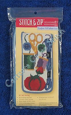 Stitch & Zip Needlepoint Eyeglass Case Kit Sewing Pre Assembled Quick & Easy