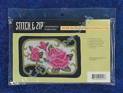 Stitch & Zip Needlepoint Purse Case Kit Pink Roses on Black Pre Assembled Quick