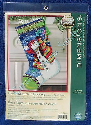 Christmas Needlepoint Kit Happy Snowman Stocking Traditional Dimensions