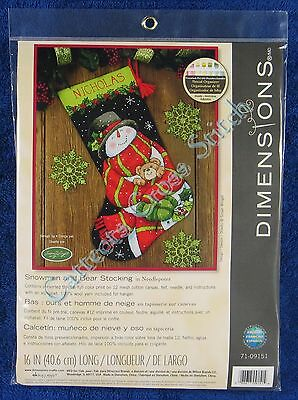 Christmas Needlepoint Kit Snowman & Teddy Bear Stocking Susan Winget Dimensions