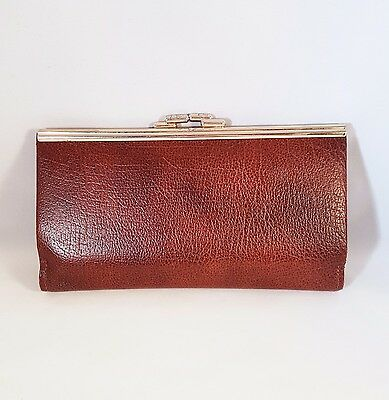 Vintage Retro Leather Brown Kiss Lock Coin Purse Wallet Made In England