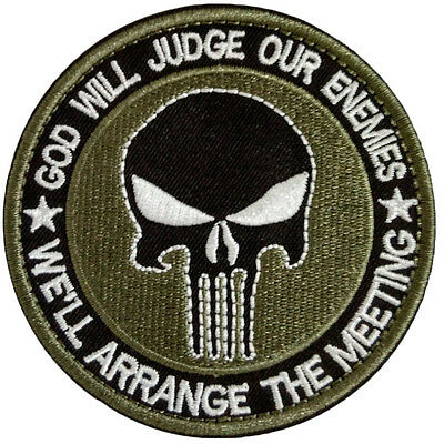 New Round Punisher Skull Military Tactical Patch Tape Army Morale Badge Green