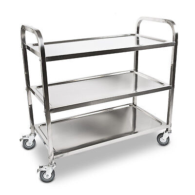 3 Tier Food Trolley Cart Stainless Steel Utility Kitchen Dining Service - Medium