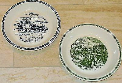 Set 2 Currier and Ives USA Sleigh Race Christmas Snow Pie Baking Pans Plates XLT