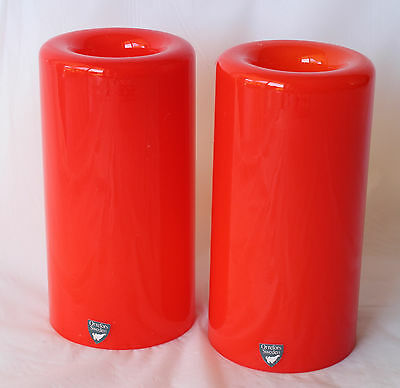 Pair of ORREFORS ETERNELL ORANGE Votive Tealight Candle Holder Art Glass