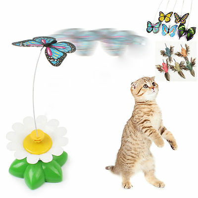 Pet Cat Kitten Scratching Play Toys Electric Tease Stick Rotating Butterfly Rod