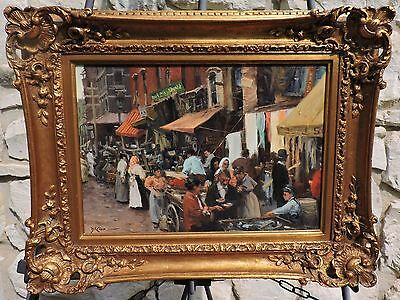 Magnificent Gil DiCicco painting of a market scene in New York's Hester Street