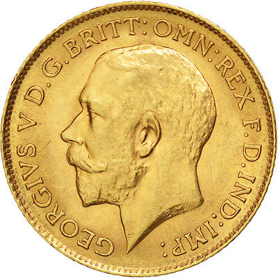GREAT BRITAIN, 1/2 Sovereign, 1913, KM #819, AU(55-58), Gold, 4.00
