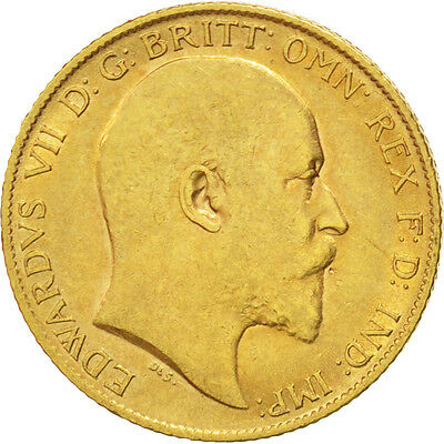 GREAT BRITAIN, 1/2 Sovereign, 1906, KM #804, EF(40-45), Gold, 3.97