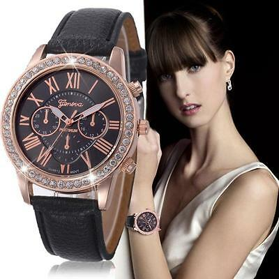 Fashion Womens Date Watches Leather Stainless Steel Analog Quartz Wrist Watch