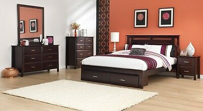 Parker New Solid Timber Queen Size  Bedroom Suite With Under Bed Storage Drawers