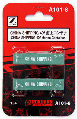 Rokuhan A101-8 Z Scale CHINA SHIPPING 40f Marine Container 2 pcs.