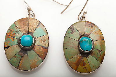 Estate 50ct Natural Blue & Nevada Green Turquoise Sterling Silver Earrings