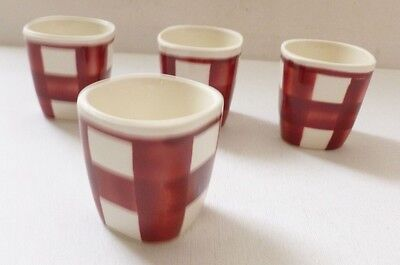 4 x RARE T G Green Pottery red and white egg cups