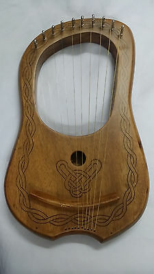 Lyre Harp Sheesham Wood 10 Metal String/Lyra Harp 10 Strings Black Celtic Design