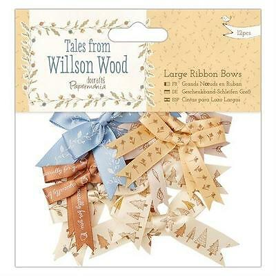 12 Large Tales From Willson Wood Ribbon Bows Card Making Craft Embellishments