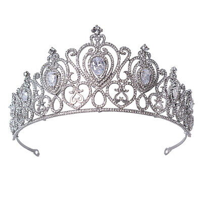 6.5cm High Large Heart Drip Crytal Wedding Bridal Party Pageant Prom Tiara Crown