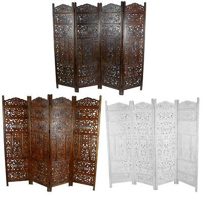 4 Panel Hand Carved Indian Screen Wooden Leaves Design Screen Room Divider