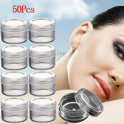 50Pcs Small Clear Plastic Sample Container Mini Bottle Pot Jars Cosmetic Tools