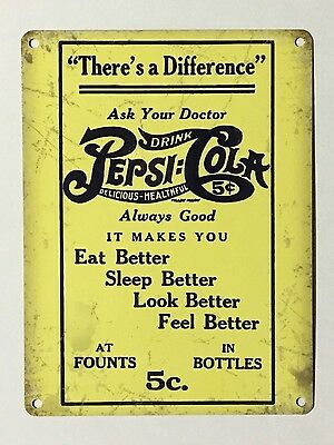 XL Pepsi Cola There's a Difference - Tin Metal Wall Sign