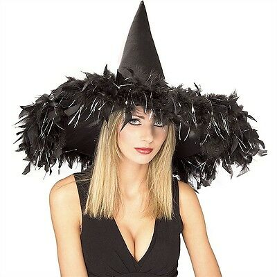 Adult Black Feather Witch Hat