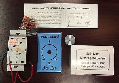 KB Electronics Solid State AC Motor Fan Speed Control KBWC-15K 5 Amp Controller