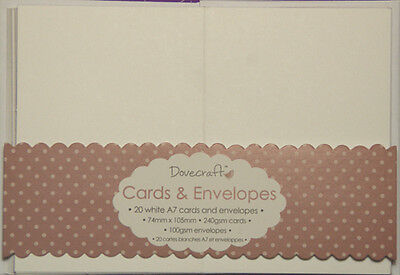 Pack Of 20 Dovecraft A7 White Or Kraft Brown Card Blanks And Envelopes