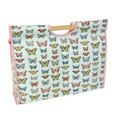 Butterflies Collection Wooden Handled Sewing And Knitting Craft Storage Bag