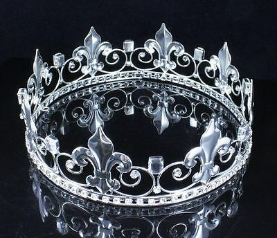 Teen's Boy's King Metal Crown Austrian Rhinestone Theater Party C806S Silver