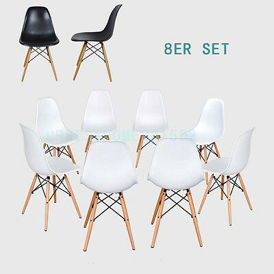 set of 4/8 Dining Chair White Armless Eiffel Eames Chair Wooden Legs Dining Room