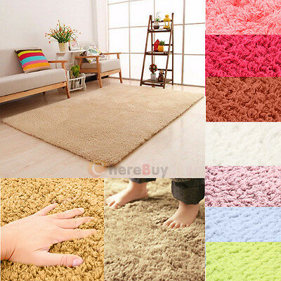 Soft Fluffy Rugs Anti-Skid Shaggy Area Dining Room Home Bedroom Carpet Floor Mat